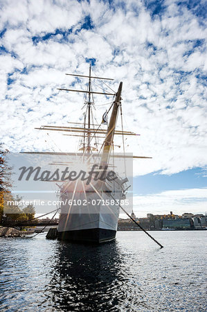 Low angle view of Af Chapman sailing ship, Stockholm, Sweden Stock Photo - Premium Royalty-Free, Image code: 6102-07158385