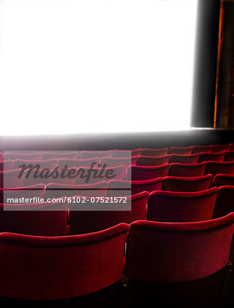 Cinema screen and seats, Stockholm, Sweden Stock Photo - Premium Royalty-Free, Image code: 6102-07521572