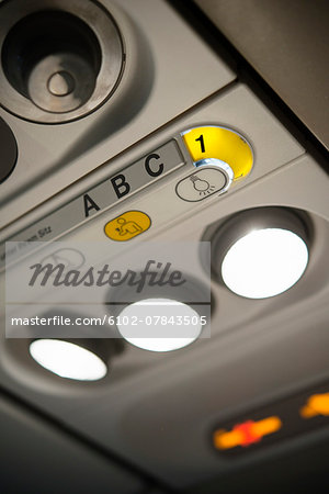 Lights in airplane, close-up Stock Photo - Premium Royalty-Free, Image code: 6102-07843505