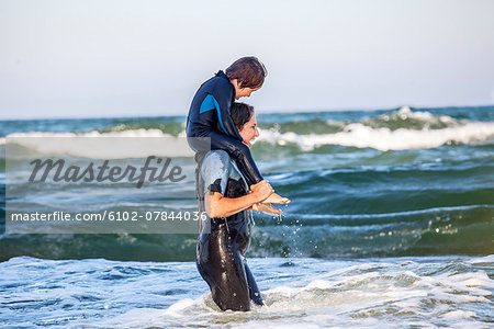 Mother with son at sea Stock Photo - Premium Royalty-Free, Image code: 6102-07844036