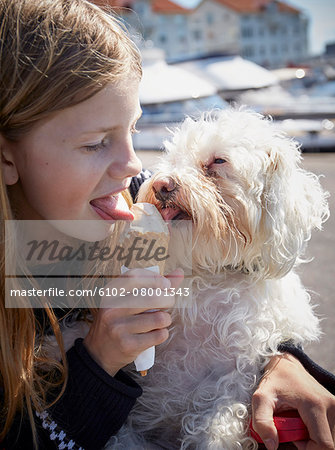 Girl and dog eating ice-cream together Stock Photo - Premium Royalty-Free, Image code: 6102-08001343