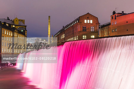 Illuminated Cotton Mill Waterfall Stock Photo - Premium Royalty-Free, Image code: 6102-08120218