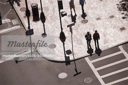 High angle view of people crossing a road, Atlantic Avenue, Congress Street, Boston, Massachusetts, USA Stock Photo - Premium Royalty-Free, Image code: 6105-05395952