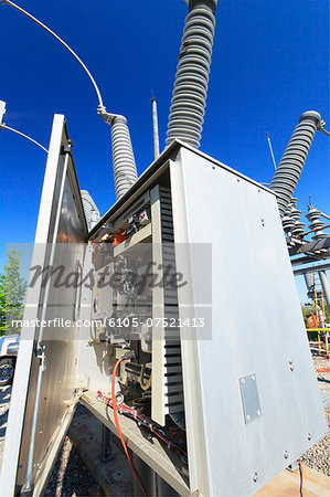 Instrumentation and monitoring unit at high voltage distribution station, Braintree, Massachusetts, USA Stock Photo - Premium Royalty-Free, Image code: 6105-07521413