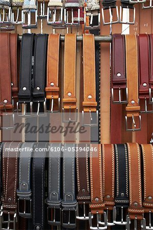 Leather belts for sale to tourists in limone Stock Photo - Premium Royalty-Free, Image code: 6106-05394046