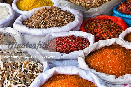 Spices and Dried Food at Chinese Market Stock Photo - Premium Royalty-Free, Image code: 6106-05395292
