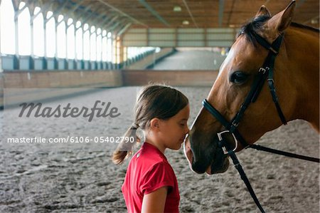 Girl nose to nose with horse in riding arena. Stock Photo - Premium Royalty-Free, Image code: 6106-05402790