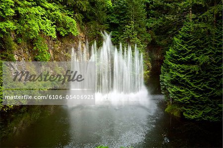 Waterfall at Butchart Gardens Stock Photo - Premium Royalty-Free, Image code: 6106-05406921