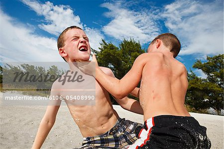 Brothers wrestling on the beach Stock Photo - Premium Royalty-Free, Image code: 6106-05408990