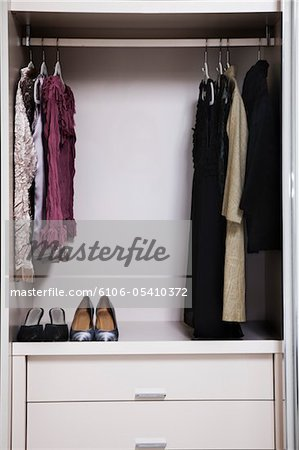 view of a tidy female wardrobe Stock Photo - Premium Royalty-Free, Image code: 6106-05410372