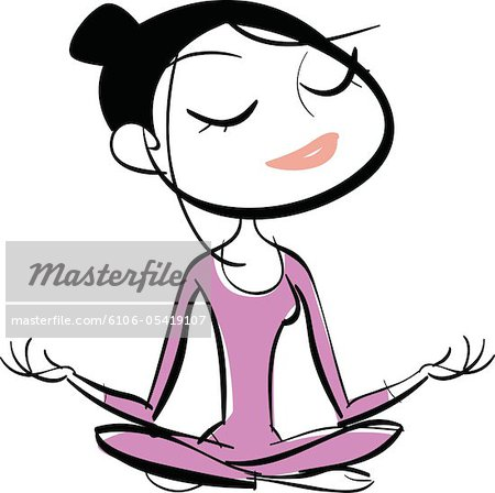 Woman sitting in lotus position, meditating Stock Photo - Premium Royalty-Free, Image code: 6106-05419107