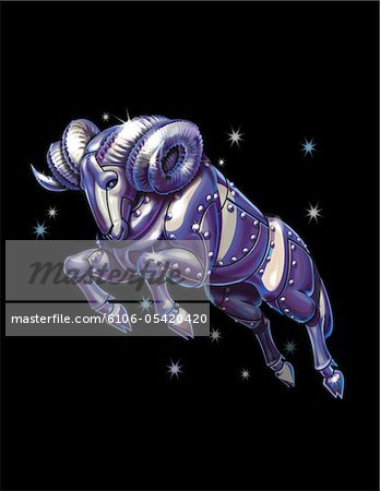 Zodiac Aries Stock Photo - Premium Royalty-Free, Image code: 6106-05420420