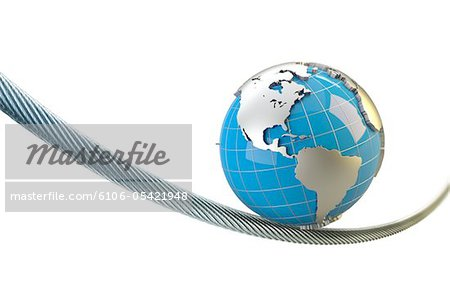 globe with America balances on a wire rope Stock Photo - Premium Royalty-Free, Image code: 6106-05421948