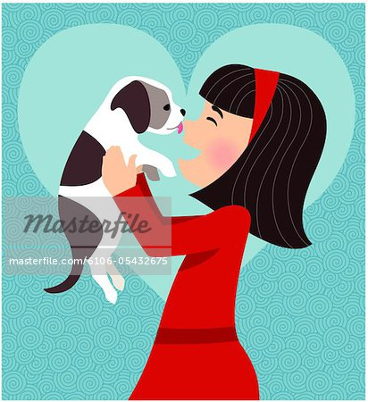 Dog licking girl's face Stock Photo - Premium Royalty-Free, Image code: 6106-05432675