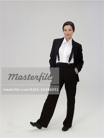 Mature woman wearing trouser suit, smiling, portrait Stock Photo - Premium Royalty-Free, Image code: 6106-05486051