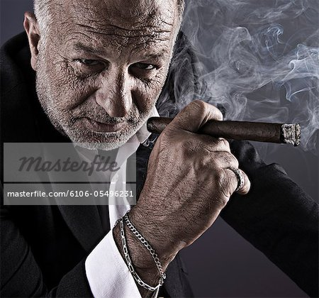 Mature businessman smoking cigar with hairy hands Stock Photo - Premium Royalty-Free, Image code: 6106-05496231