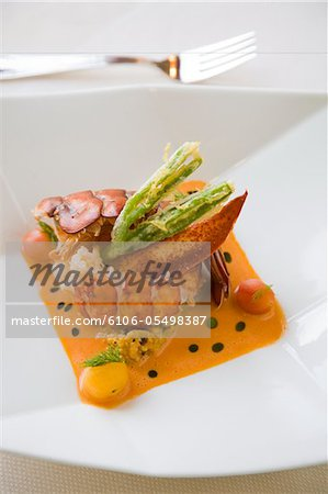 detail of a lobster entree Stock Photo - Premium Royalty-Free, Image code: 6106-05498387
