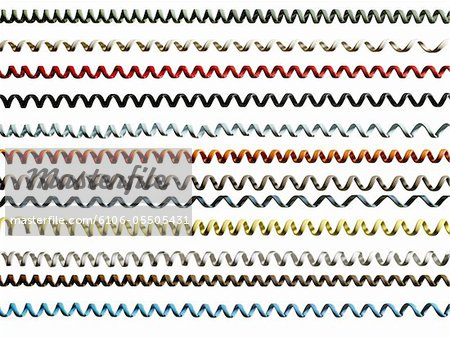 Rows of coloured phone cords on white background (full frame) Stock Photo - Premium Royalty-Free, Image code: 6106-05505431
