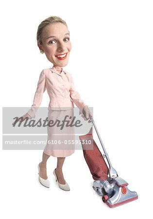 photo caricature of a caucasian woman dressed as a retro 1950 housewife as she vacuums Stock Photo - Premium Royalty-Free, Image code: 6106-05595310