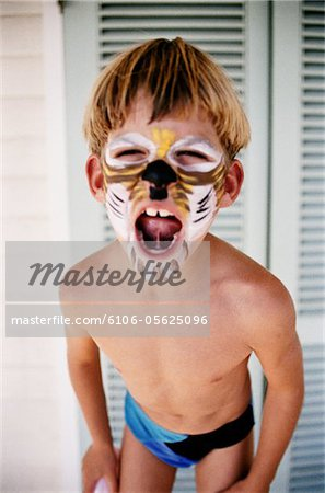 Boy with His Face Painted Stock Photo - Premium Royalty-Free, Image code: 6106-05625096