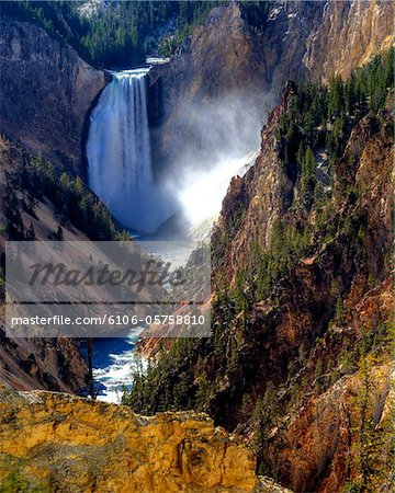 Lower Yellowstone Falls Stock Photo - Premium Royalty-Free, Image code: 6106-05758810