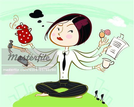 Woman juggling multiple tasks all at once Stock Photo - Premium Royalty-Free, Image code: 6106-05788280