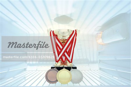 Golden trophy and medals in refrigerator Stock Photo - Premium Royalty-Free, Image code: 6106-05978628