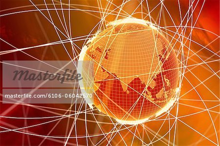 World globe and abstract lines around it Stock Photo - Premium Royalty-Free, Image code: 6106-06042570