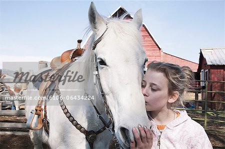 Josey and Gray Horse, Ellensburg WA Stock Photo - Premium Royalty-Free, Image code: 6106-06434224