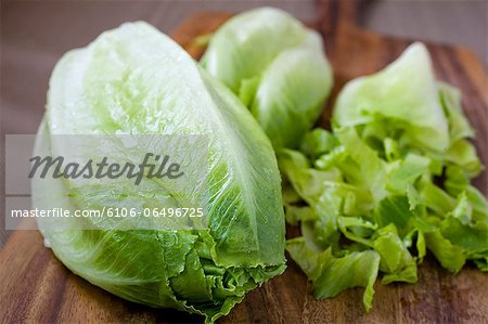 Romaine lettuce being cleaned & chopped Stock Photo - Premium Royalty-Free, Image code: 6106-06496725
