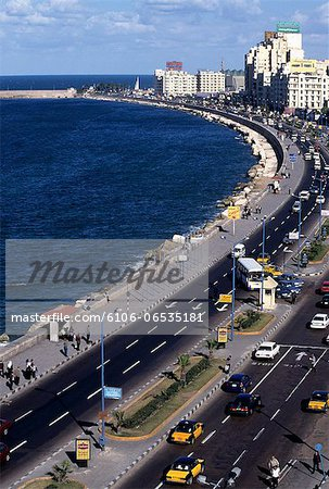 View of El Corniche in Downtown Alexandria, Egypt Stock Photo - Premium Royalty-Free, Image code: 6106-06535181