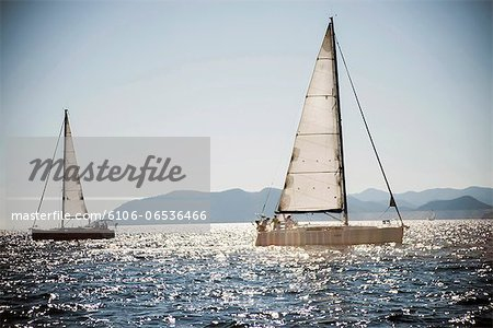 Two sailboats sailing, Turkey Stock Photo - Premium Royalty-Free, Image code: 6106-06536466
