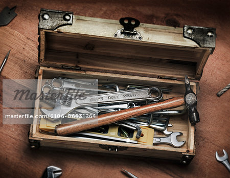 DIY wooden toolbox Stock Photo - Premium Royalty-Free, Image code: 6106-06831264