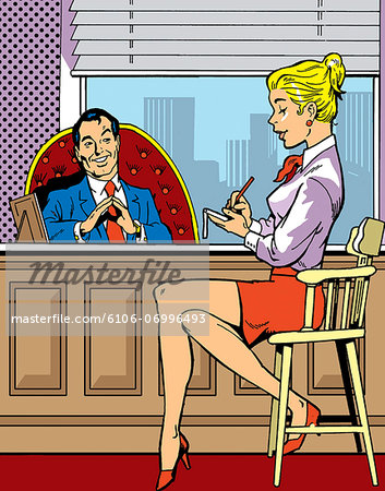 Ceo Dictating to a Secretary at His Desk Stock Photo - Premium Royalty-Free, Image code: 6106-06996493