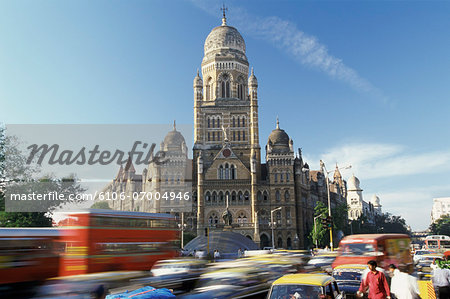 Victoria Railway Station and Busy Traffic, Bombay, India Stock Photo - Premium Royalty-Free, Image code: 6106-07004946
