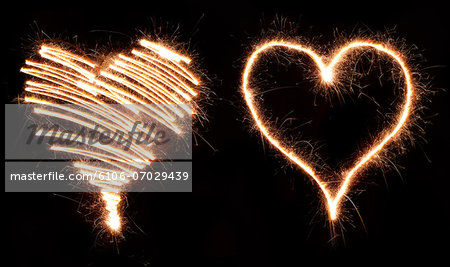 Sparkling hearts Stock Photo - Premium Royalty-Free, Image code: 6106-07029439