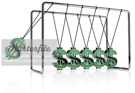Dollar symbols hanging from a Newton's Cradle Stock Photo - Premium Royalty-Free, Image code: 6106-07202921