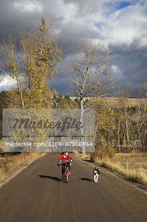 Girl on bicycle with dog on gravel road. Stock Photo - Premium Royalty-Free, Image code: 6106-07350964