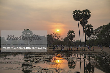 Sunset at Angkor Wat, Cambodia Stock Photo - Premium Royalty-Free, Image code: 6106-07493636
