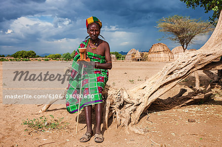 Man from Erbore tribe, Omo Valley in Ethiopia Stock Photo - Premium Royalty-Free, Image code: 6106-08080630