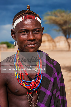 Man from Erbore tribe, Omo Valley in Ethiopia Stock Photo - Premium Royalty-Free, Image code: 6106-08080647