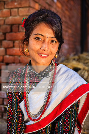 Nepali woman in traditional dress Stock Photo - Premium Royalty-Free, Image code: 6106-08100367