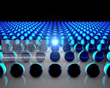 Abstract composition of blue 3d balls. Stock Photo - Premium Royalty-Free, Image code: 6106-08276848