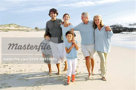 Family on the beach Stock Photo - Premium Royalty-Free, Image code: 6108-05858241