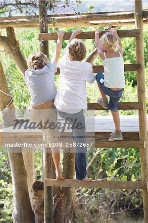 Rear view of children climbing ladders to tree house Stock Photo - Premium Royalty-Free, Image code: 6108-05872657