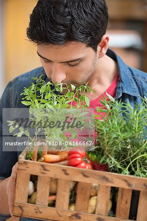 Man carrying fresh vegetables in a crate Stock Photo - Premium Royalty-Free, Image code: 6108-06166667