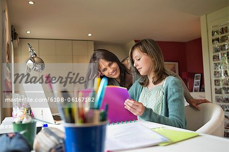 Girl studying with her mother at home Stock Photo - Premium Royalty-Free, Image code: 6108-06167182