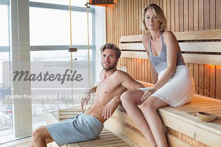 Couple in a sauna Stock Photo - Premium Royalty-Free, Image code: 6108-06907453