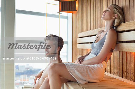Couple in a sauna Stock Photo - Premium Royalty-Free, Image code: 6108-06907489