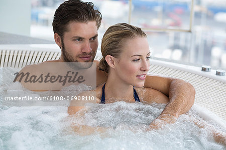 Couple in a hot tub Stock Photo - Premium Royalty-Free, Image code: 6108-06908110